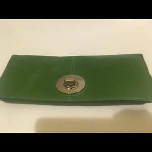 COACH  Green Clutch with Silver Hardware closure.